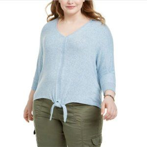 NEW Style & Co Blue V-Neck Top Plus Size 3/4 sleev